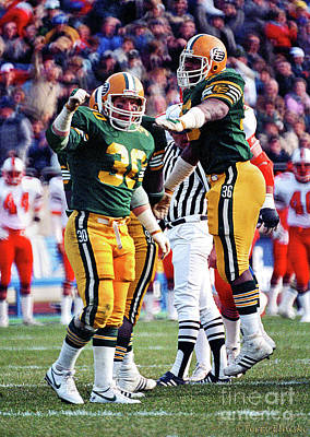 Photograph - Edmonton Eskimos Football - Danny Bass - Stewart Hill - 1985 by Terry Elniski