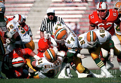Photograph - Edmonton Eskimos Football - Jeff Braswell - Brett Williams - 1989 by Terry Elniski