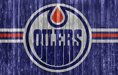 Mixed Media - Edmonton Oilers Barn Door by Dan Sproul