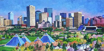 Painting - Edmonton Pyramids In Summer by Nel Kwiatkowska