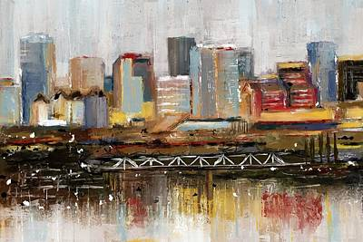Mixed Media - Edmonton Skyline Abstract1 by Eduardo Tavares