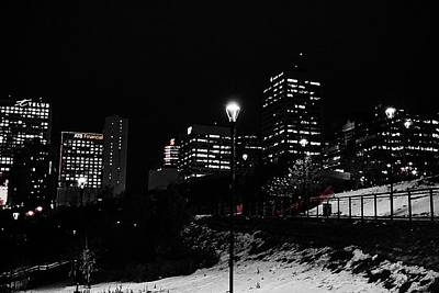 Photograph - Edmonton Skyline Winter Night by Desmond Raymond