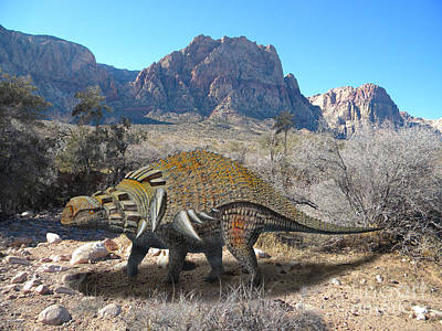 Reptiles Mixed Media - Edmontonia in Desert by Frank Wilson