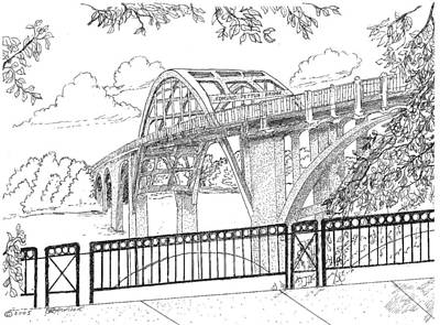 Martin Luther King Drawing - Edmund Pettus Bridge by Barney Hedrick