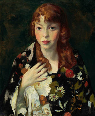 Edna Smith In A Japanese Wrap Art Print by Robert Henri