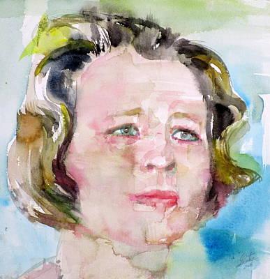 St. Vincent Painting - Edna St. Vincent Millay - Watercolor Portrait by Fabrizio Cassetta