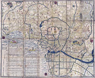Japan Map Photograph - Edo - Tokyo Map  1849 by Daniel Hagerman