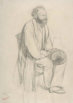 Impressionism Drawing - Edouard Manet, Seated, Holding His Hat by Edouard Manet