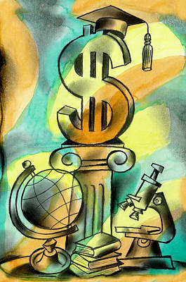 Education Painting - Education And Money by Leon Zernitsky