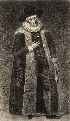 Ruff Drawing - Edward Alleyn, 1566-1626. Elizabethan by Vintage Design Pics