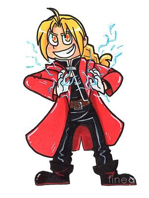 Alchemist Drawing - Edward Elric by Melanie Albertson