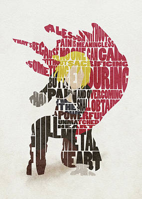 Digital Art - Edward Elric Typography Art by Inspirowl Design