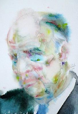 Painting - Edward Hopper - Watercolor Portrait by Fabrizio Cassetta