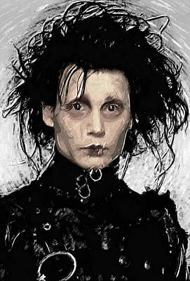 Frankenstein Digital Art - Edward Scissorhands by Taylan Apukovska