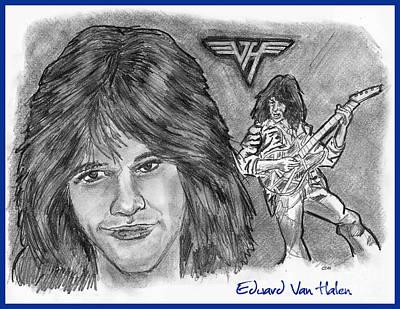 Van Halen Drawing - Edward Van Halen by Chris  DelVecchio