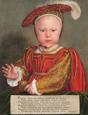 Swiss Painting - Edward Vi As A Child by Hans Holbein the Younger