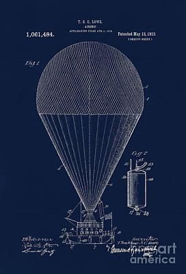 Edwardian Age Airship Blueprint Patent Drawing, Steampunk Art Print
