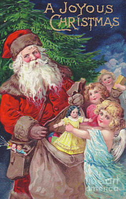 Santa Claus Painting - Edwardian Christmas Card Of An Angel Picking Up A Doll From A Sack Held By Father Christmas by English School