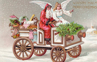 Santa Claus Painting - Edwardian Christmas Card Of An Angel Seated Next To Father Christmas Driving A Vintage Car  by English School