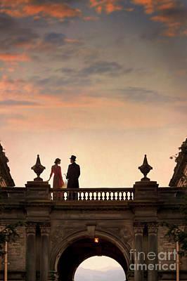 Photograph - Edwardian Couple Talking At Sunset by Lee Avison