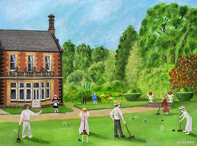 Edwardian Painting - Edwardian Garden Party At Lymm Hall by Ronald Haber