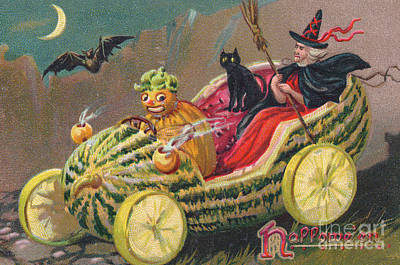 Witches Broom Painting - Edwardian Halloween Card by English School
