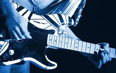 Edward Van Halen Photograph - Blue Guitar by Ben Upham