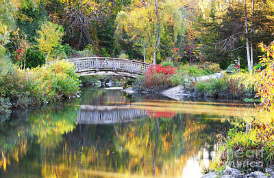 Photograph - Fall Color Reflections Around Wood Bridge by Charline Xia