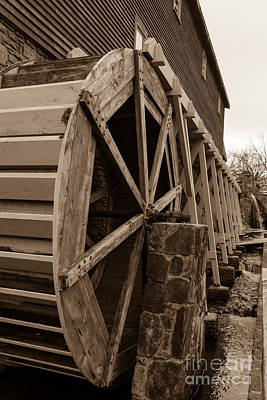 Photograph - Edwards Water Wheel Sepia by Jennifer White