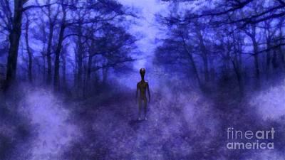 Monster Ufo Wall Art - Painting - Eerie Alien by Raphael Terra