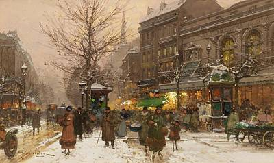 Winter In The City Painting - eet scene in Paris in the winter by MotionAge Designs