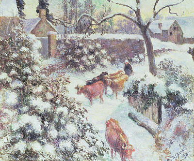 Effect Of Snow At Montfoucault Print by Camille Pissarro