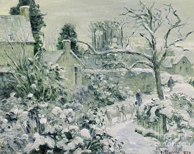 Effect Of Snow With Cows At Montfoucault Print by Camille Pissarro
