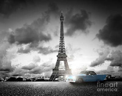 Symbol Photograph - Effel Tower And Retro Car by Michal Bednarek
