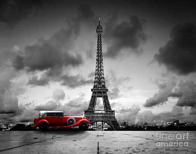 Luxury Photograph - Effel Tower And Retro Red Car by Michal Bednarek