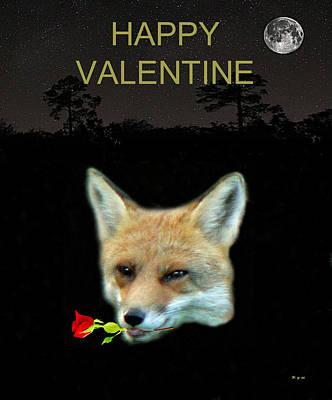 Mixed Media - Eftalou Fox Max With Rose Happy Valentine by Eric Kempson