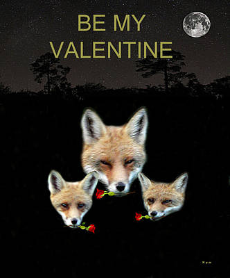 Mixed Media - Eftalou Foxes With Roses Be My Valentine by Eric Kempson