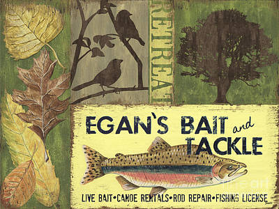Canoes Painting - Egan's Bait And Tackle Lodge by Debbie DeWitt