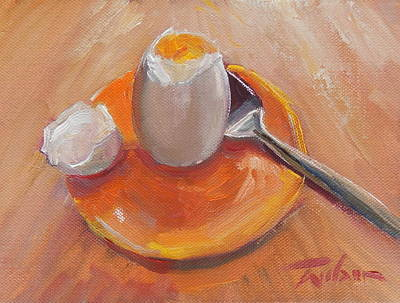 Painting - Egg And Spoon by Ron Wilson