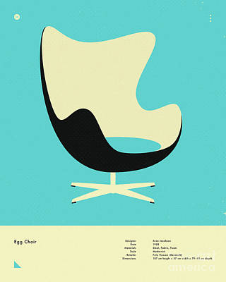 Infographic Digital Art - Egg Chair 1958 by Jazzberry Blue