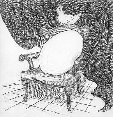 Drawing - Egg In Chair Sketch by Phil Burns