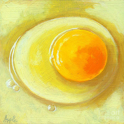 Egg On A Plate - Realism Painting Art Print by Linda Apple