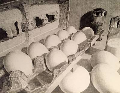 Still Life Drawings - Egg Still Life by Will Matz