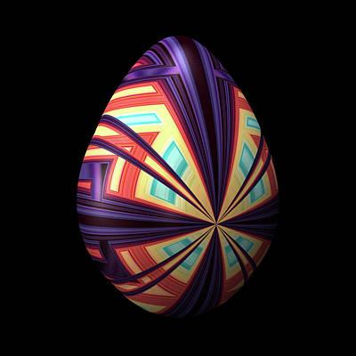 Convergence Digital Art - Egg With Convergent Lines by Hakon Soreide
