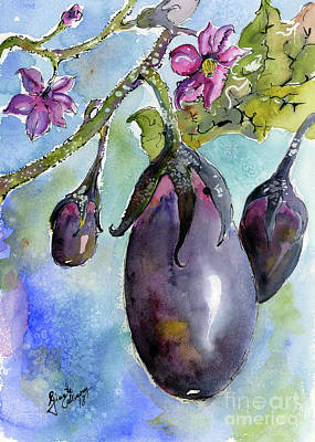 Painting - Eggplant And Blossoms Food Art Watercolors by Ginette Callaway