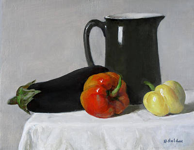 Painting - Eggplant And Peppers With Green Pitcher by Robert Holden