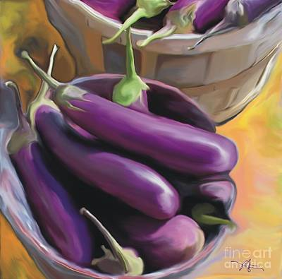 Culinary Mixed Media - Eggplant by Bob Salo