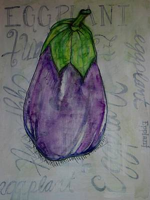 Italian Kitchen Painting - Eggplant Typography by Anne Seay