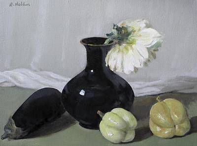 Painting - Eggplant, Black Chinese Vase, Pale Peppers And One Dahlia by Robert Holden