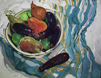 Painting - Eggplants And Pears by Lynn Gimby-Bougerol